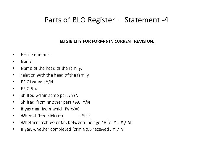 Parts of BLO Register – Statement -4 ELIGIBILITY FORM-6 IN CURRENT REVISION. • •