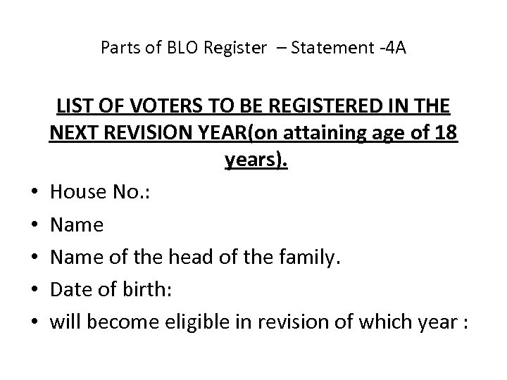 Parts of BLO Register – Statement -4 A • • • LIST OF VOTERS