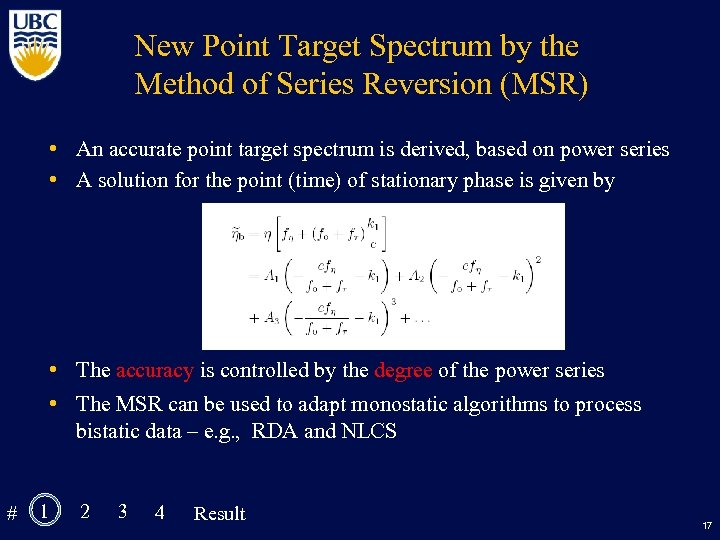 New Point Target Spectrum by the Method of Series Reversion (MSR) • An accurate