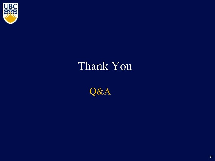 Thank You Q&A 31