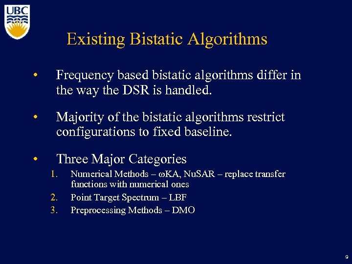 Existing Bistatic Algorithms • Frequency based bistatic algorithms differ in the way the DSR