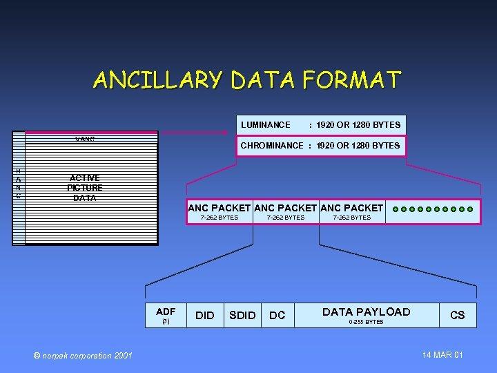 ANCILLARY DATA FORMAT LUMINANCE VANC H A N C CHROMINANCE : 1920 OR 1280