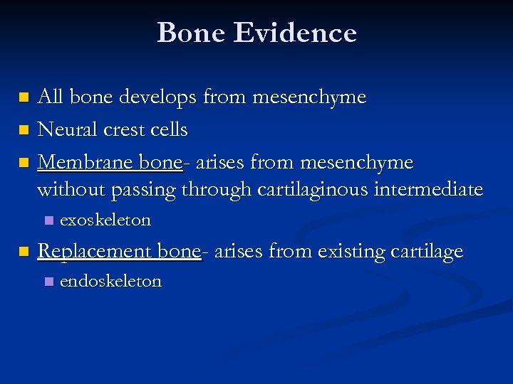 Bone Evidence All bone develops from mesenchyme n Neural crest cells n Membrane bone-