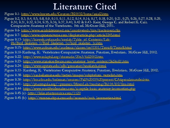 Literature Cited Figure 9. 1 - http: //www. brown. edu/Courses/BI 0032/bone/axial 2. htm Figure