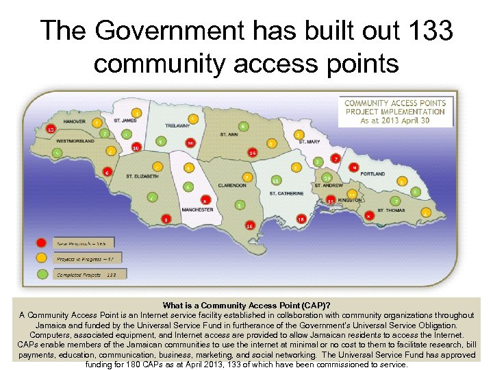 The Government has built out 133 community access points What is a Community Access
