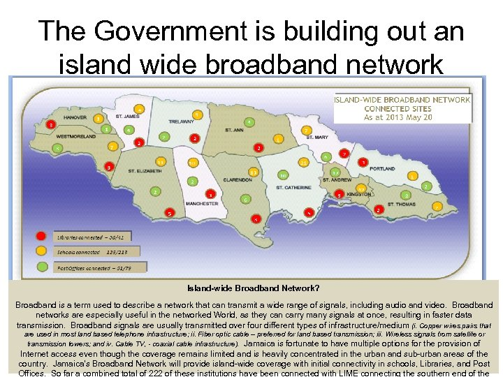 The Government is building out an island wide broadband network Island-wide Broadband Network? Broadband