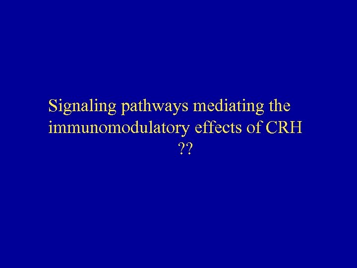 Signaling pathways mediating the immunomodulatory effects of CRH ? ?