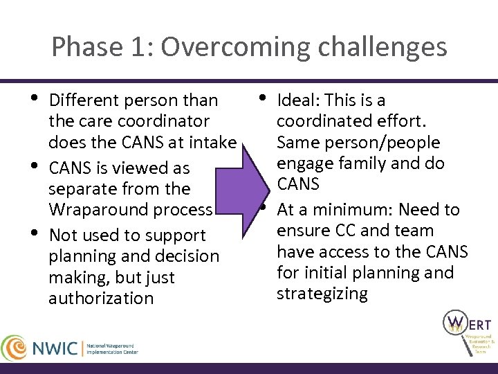 Phase 1: Overcoming challenges • • • Different person than the care coordinator does