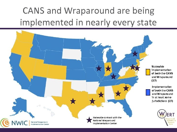 CANS and Wraparound are being implemented in nearly every state Statewide implementation of both