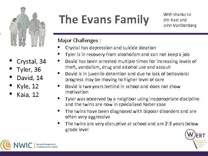 The Evans Family With thanks to Jim Rast and John Van. Den. Berg Major