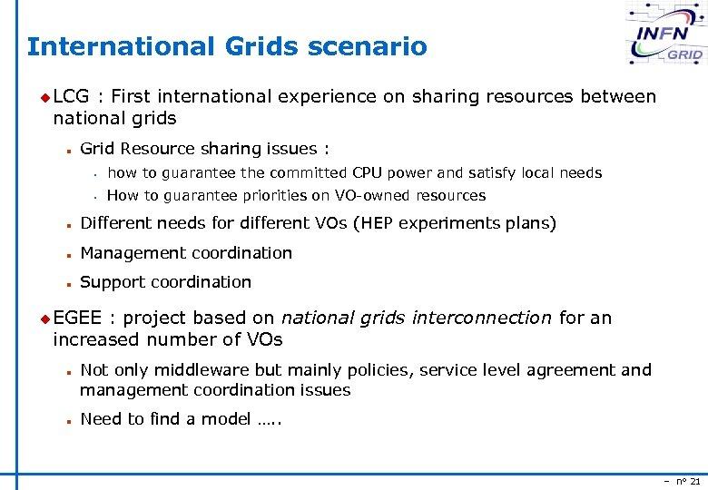 International Grids scenario u LCG : First international experience on sharing resources between national