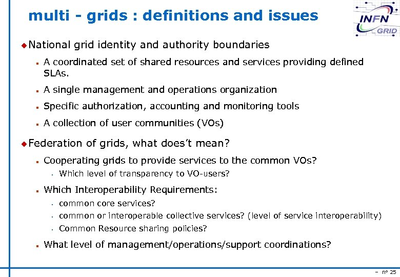 multi - grids : definitions and issues u National n grid identity and authority