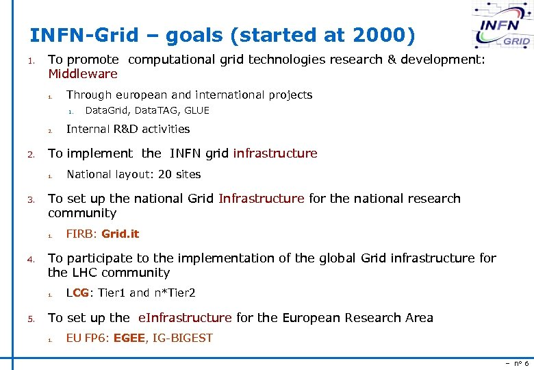 INFN-Grid – goals (started at 2000) 1. To promote computational grid technologies research &