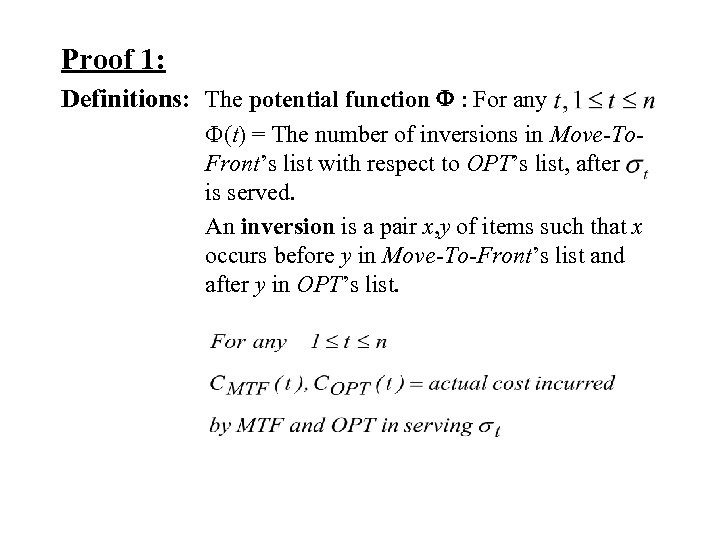 Proof 1: Definitions: The potential function F : For any F(t) = The number