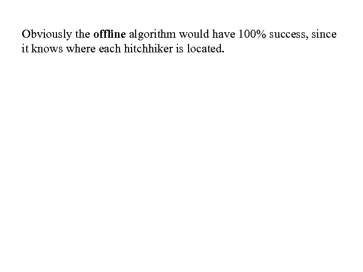 Obviously the offline algorithm would have 100% success, since it knows where each hitchhiker