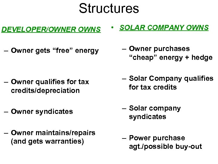 "Structures DEVELOPER/OWNER OWNS • SOLAR COMPANY OWNS – Owner gets ""free"" energy – Owner"