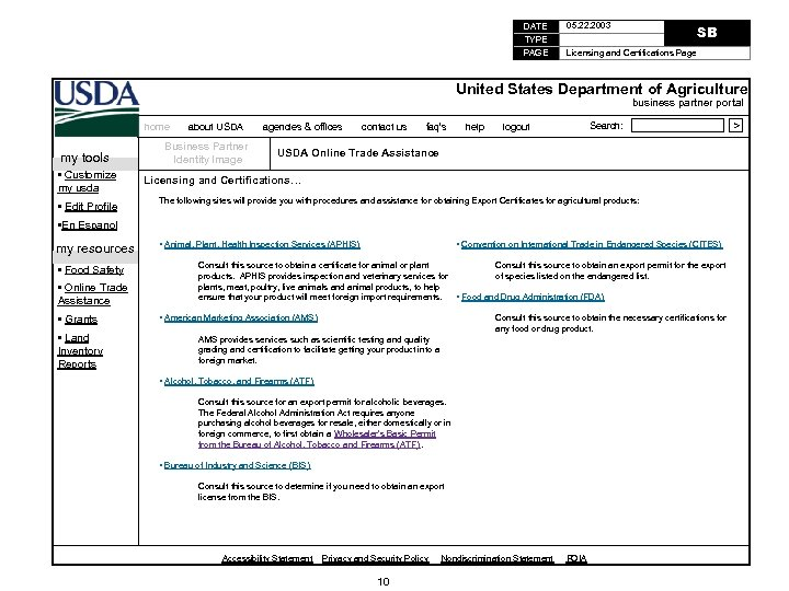 DATE TYPE PAGE 05. 22. 2003 SB Licensing and Certifications Page United States Department