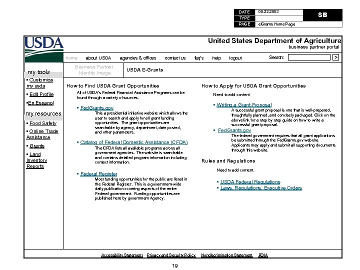 DATE TYPE PAGE 05. 22. 2003 SB e. Grants Home Page United States Department