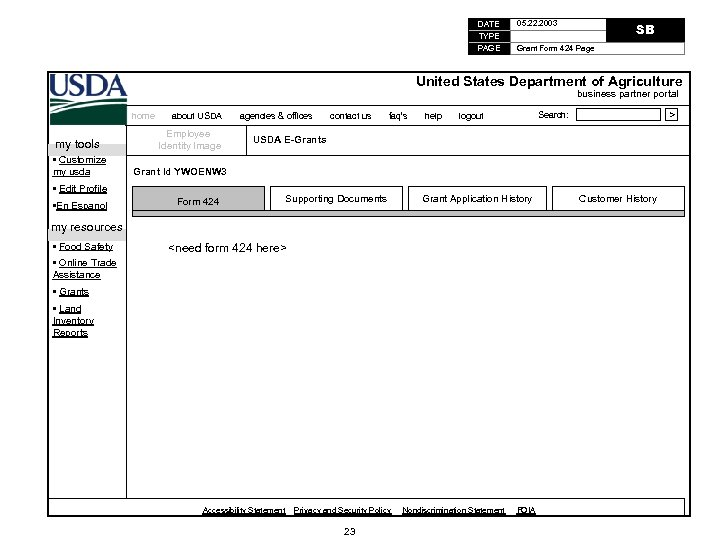 DATE TYPE PAGE 05. 22. 2003 SB Grant Form 424 Page United States Department