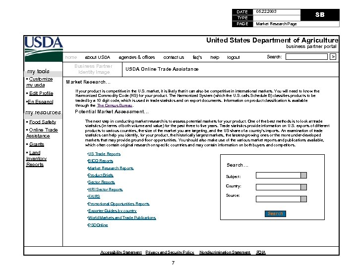 DATE TYPE PAGE 05. 22. 2003 SB Market Research Page United States Department of