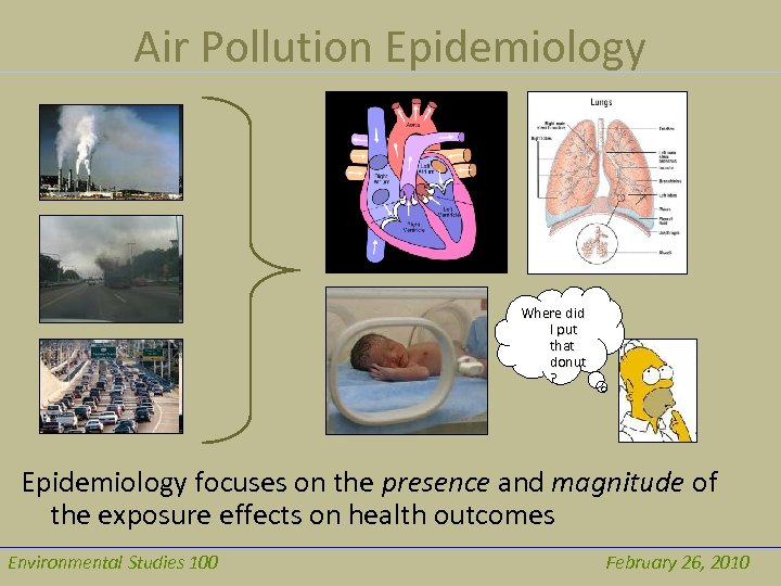 Air Pollution Epidemiology Where did I put that donut ? Epidemiology focuses on the