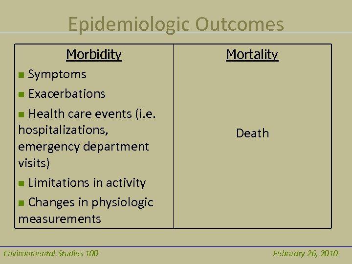 Epidemiologic Outcomes Morbidity n Symptoms n Exacerbations n Health care events (i. e. hospitalizations,