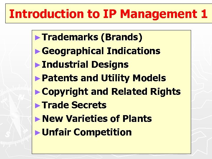 Introduction to IP Management 1 ► Trademarks (Brands) ► Geographical Indications ► Industrial Designs