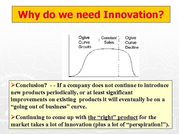 Why do we need Innovation? ØConclusion? - - If a company does not continue