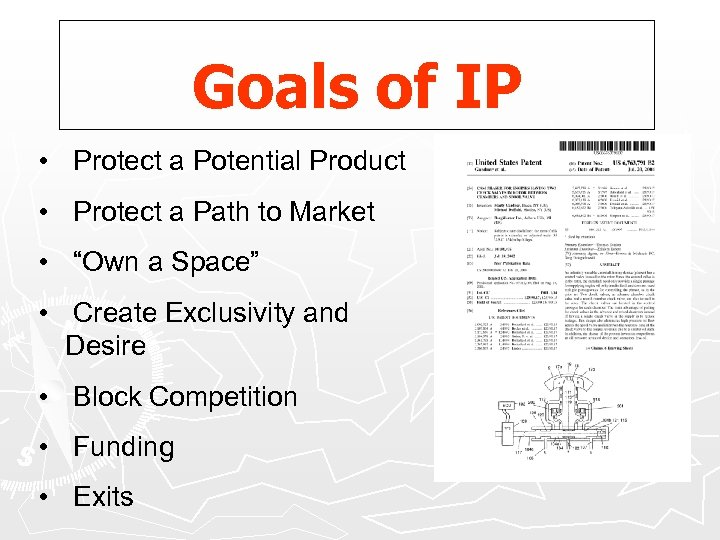 Goals of IP • Protect a Potential Product • Protect a Path to Market