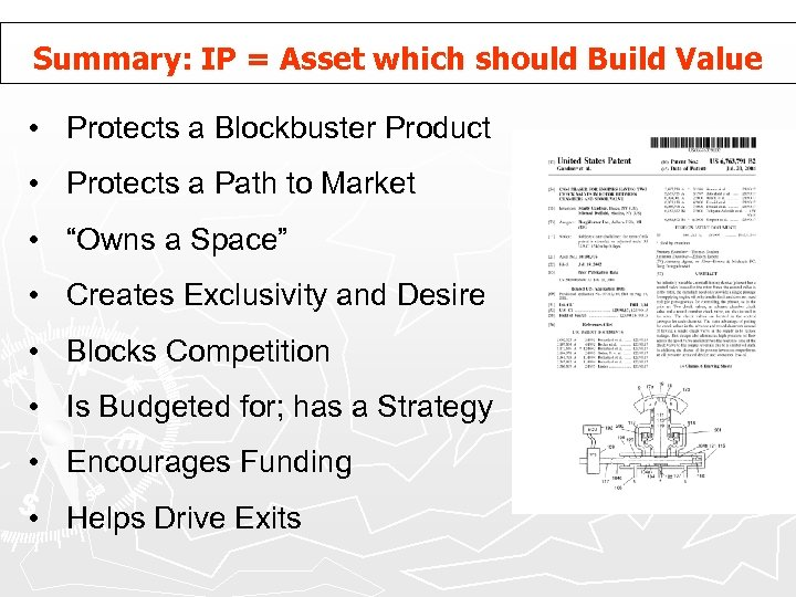 Summary: IP = Asset which should Build Value • Protects a Blockbuster Product •