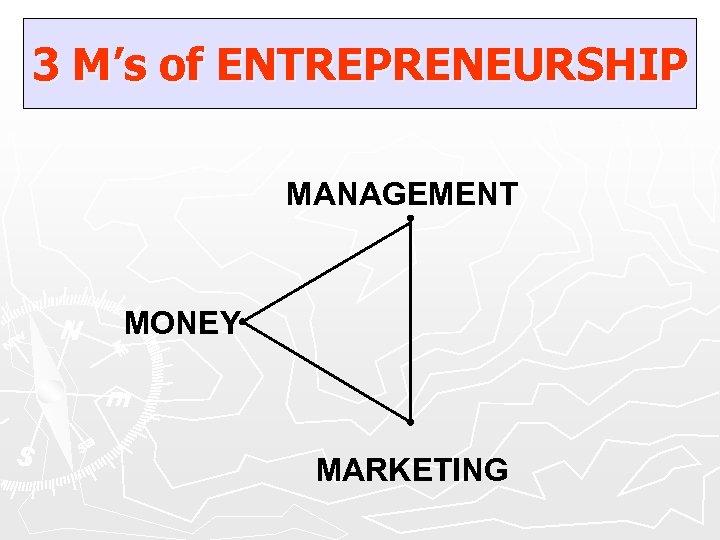 3 M's of ENTREPRENEURSHIP MANAGEMENT MONEY MARKETING