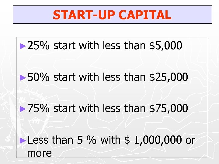 START-UP CAPITAL ► 25% start with less than $5, 000 ► 50% start with