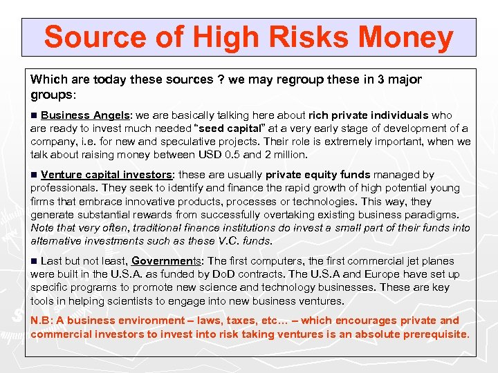 Source of High Risks Money Which are today these sources ? we may regroup