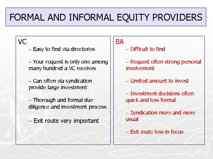 FORMAL AND INFORMAL EQUITY PROVIDERS VC – Easy to find via directories BA –