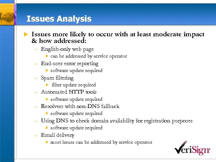 Issues Analysis u Issues more likely to occur with at least moderate impact &