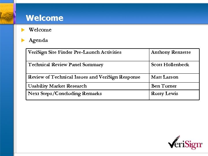 Welcome u Agenda Veri. Sign Site Finder Pre-Launch Activities Anthony Renzette Technical Review Panel