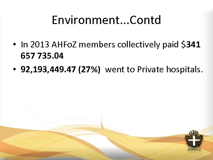 Environment. . . Contd • In 2013 AHFo. Z members collectively paid $341 657