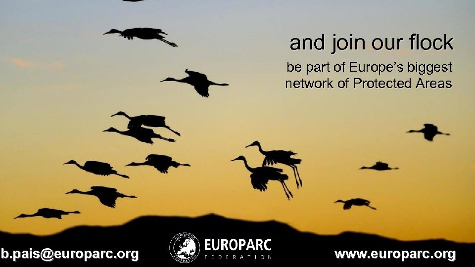 and join our flock be part of Europe's biggest network of Protected Areas b.