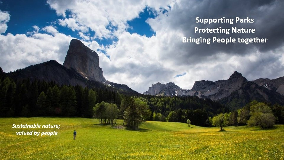 Supporting Parks Protecting Nature Bringing People together Sustainable nature; valued by people
