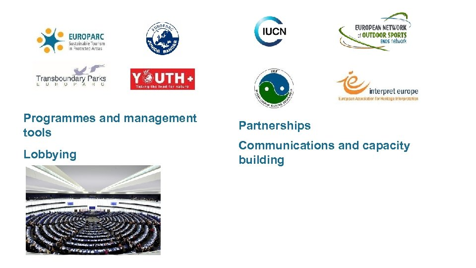 Programmes and management tools Lobbying Partnerships Communications and capacity building