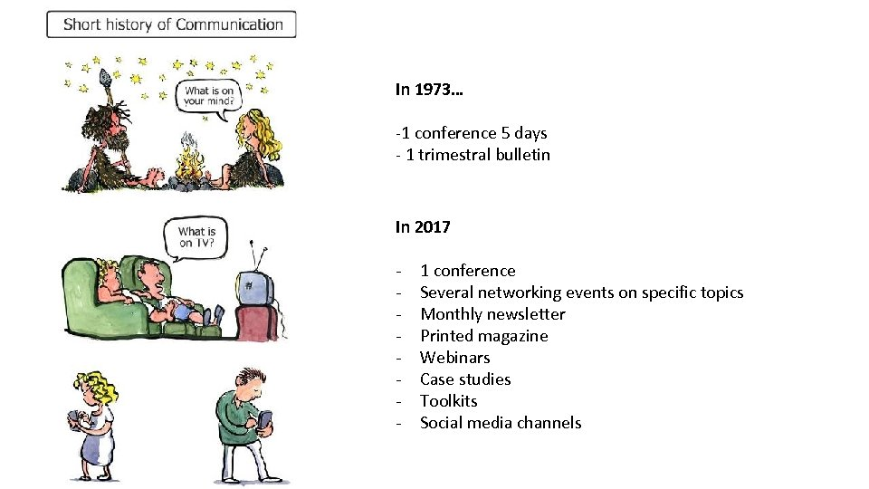 In 1973… -1 conference 5 days - 1 trimestral bulletin In 2017 - 1