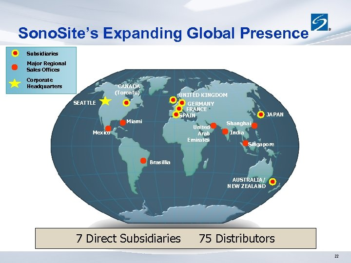 Sono. Site's Expanding Global Presence Subsidiaries Major Regional Sales Offices Corporate Headquarters CANADA (Toronto)