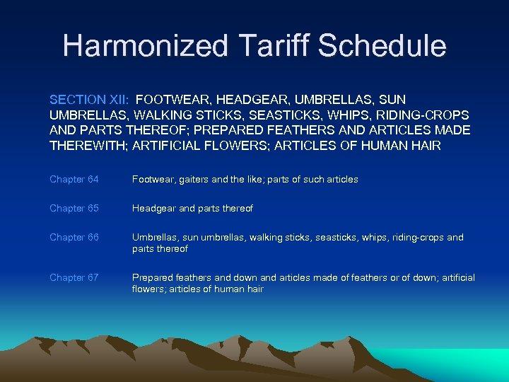 Harmonized Tariff Schedule SECTION XII: FOOTWEAR, HEADGEAR, UMBRELLAS, SUN UMBRELLAS, WALKING STICKS, SEASTICKS, WHIPS,