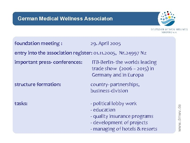 German Medical Wellness Associaton network foundation meeting : 29. April 2005 entry into the