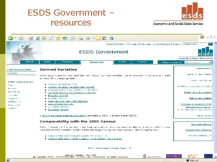 ESDS Government – resources