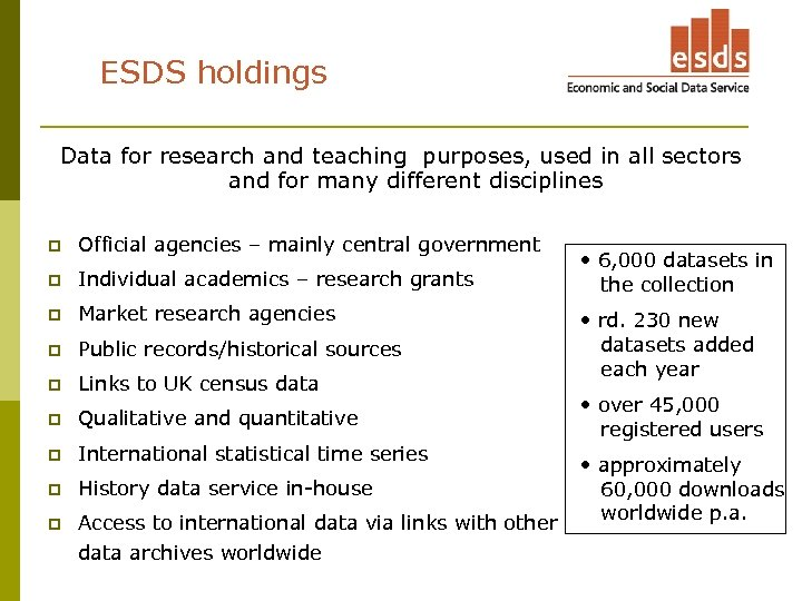 ESDS holdings Data for research and teaching purposes, used in all sectors and for