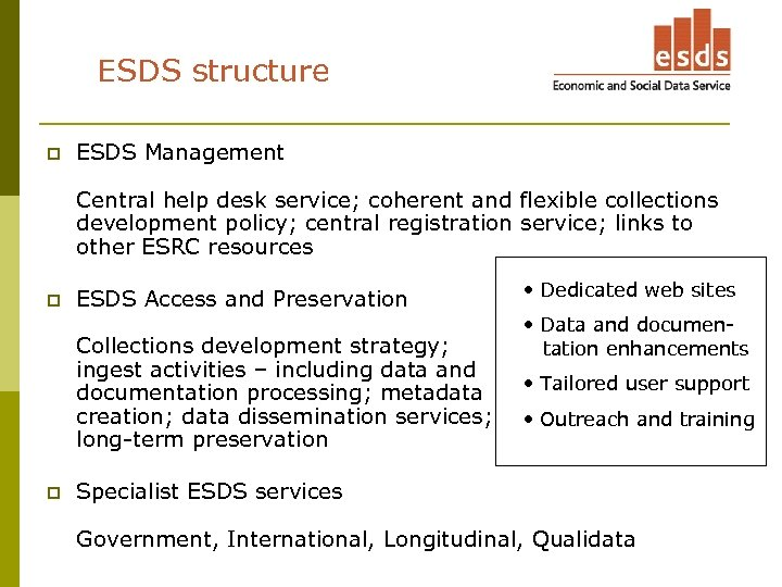 ESDS structure p ESDS Management Central help desk service; coherent and flexible collections development