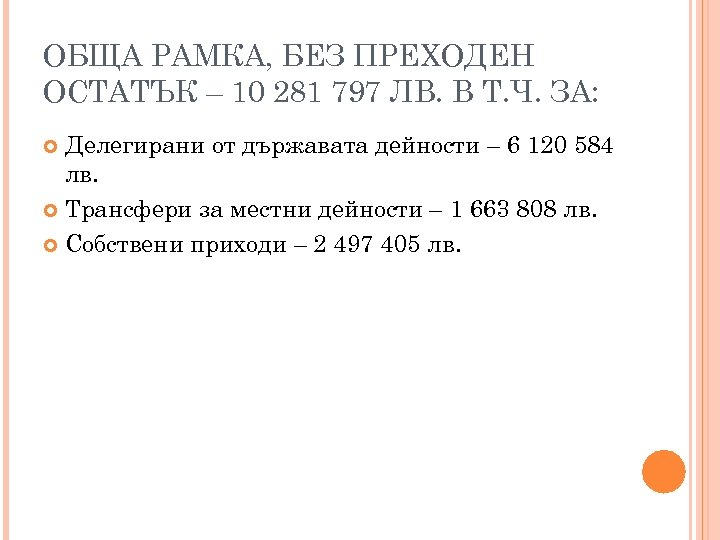 ОБЩА РАМКА, БЕЗ ПРЕХОДЕН ОСТАТЪК – 10 281 797 ЛВ. В Т. Ч. ЗА: