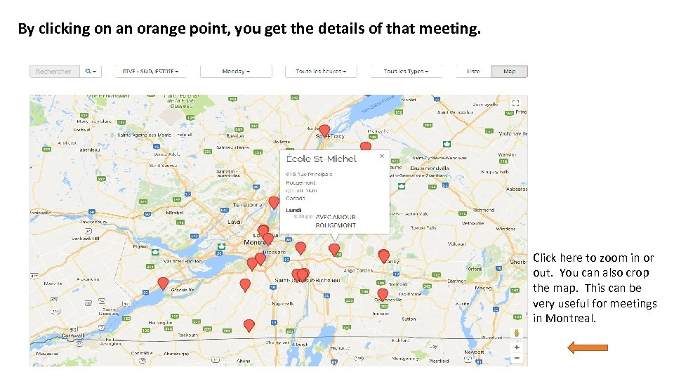 By clicking on an orange point, you get the details of that meeting. Click