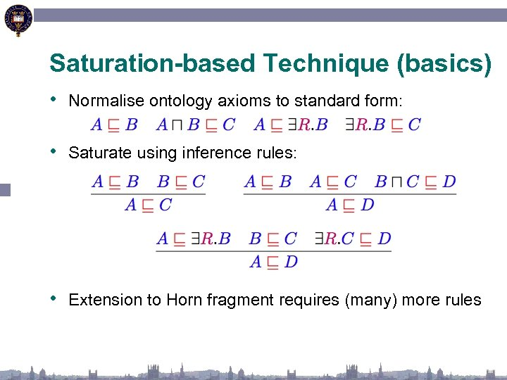 Saturation-based Technique (basics) • Normalise ontology axioms to standard form: • Saturate using inference